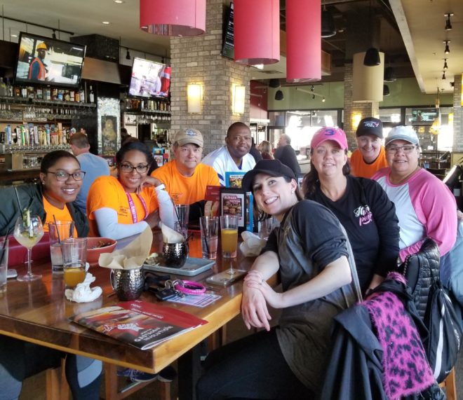 Chris with the Komen Dallas team at Bar Louie after the 2019 Race